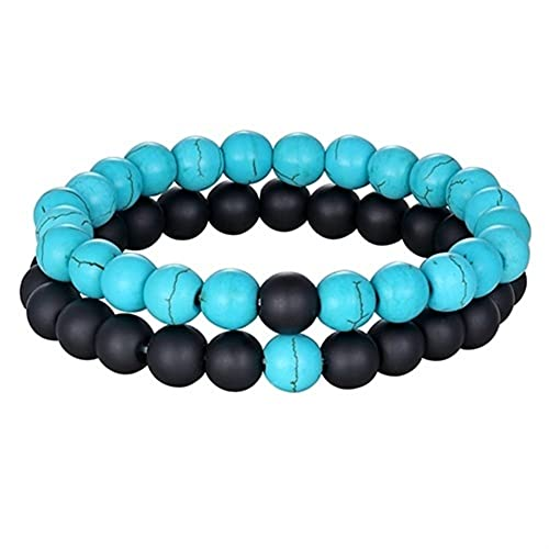 DALIANMAO 2 unids/Set 8mm Piedra Natural Beads His y Hers Pareja Pulsera Yoga Beaded Jewelry (Metal Color : Black Onyx Stone)