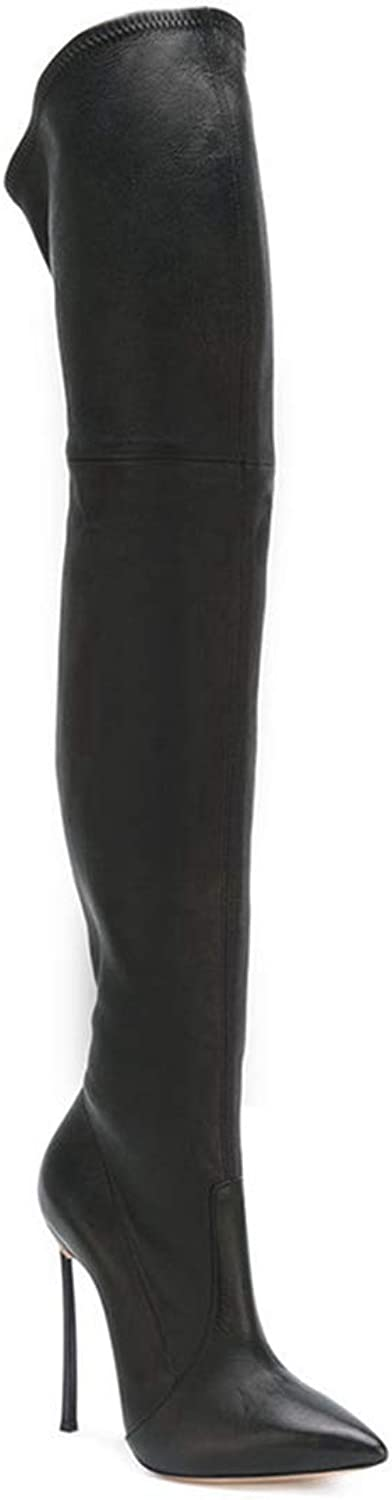 Pointed Leather Elastic Pu Boots Repair Legs Knee Boots Spring Autumn shoes