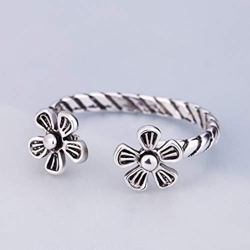 DLIAAN ringen paar open ring verstelbare persoonlijkheid mannen vrouw kleine vinger ring glans helder zilver veer smiley bloem wijsvinger ring 10 stijl gift sieraden