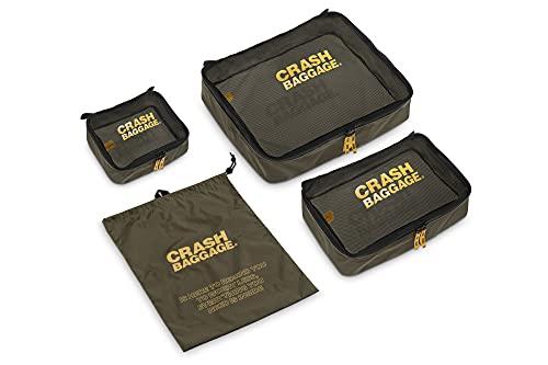 CRASH BAGGAGE - EASY LIFE KIT, Set da 4 Contenitori con Diverse Misure per Organizzare la Valigia, con Lato in Mesh, 3 Organizer per Vestiti e 1 Portascarpe, Colore Green