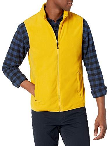 Amazon Essentials Men's Full-Zip Polar Fleece Vest, Gold, Small