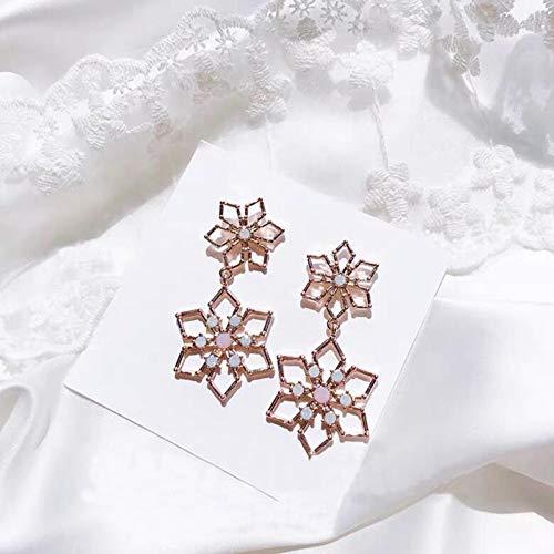 JINGM Boucles d'oreilles en Forme De Fleur De Flocon De Neige en Métal Exagéré pour Les Femmes Bijoux en Cristal Mignons