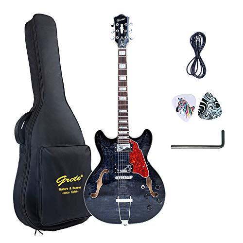GROTE Jazz Electric Guitar Semi-Hollow Body Trapeze Tailpiece Bridge Guitar Gig Bag (Black)