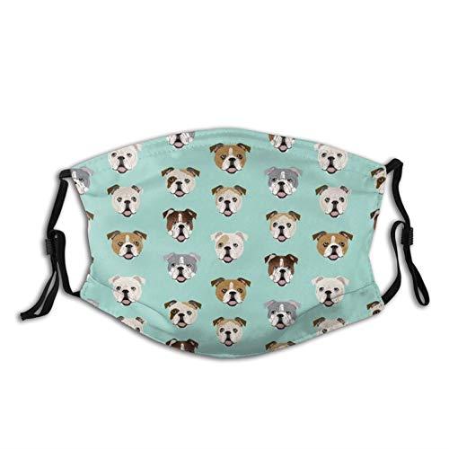 English Bulldog Dog Face Mint Green Face Mask With Filter Pocket Washable Reusable Face Bandanas Balaclava With 2 Pcs Filters