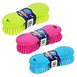 Homo Trends - Set di 3 spazzole rigide, per pulire e strofinare pavimenti, tappeti, cucina, bagno e lavaggio, colore casuale