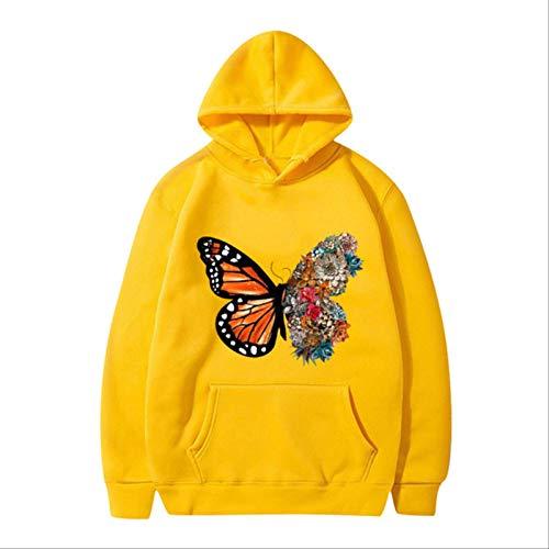 ZCMWY Fall Hoodie Sweatshirts Women'S Butterfly Fun Pattern Printed Long-Sleeve Hooded Sweatshirt Oversize Pullovers Warm Xl Yellow