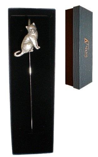 Segnalibro a forma di gatto seduto, in confezione regalo, peltro, prodotto in Inghilterra
