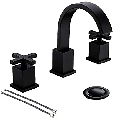 8 Inch 2 Handle Waterfall 3 Piece 3 Holes Matte Black Lead- Free Widespread Bathroom Faucet by Phiestina,Bathroom Sink Faucet with Metal Pop Up Drain and Water Supply Lines,WF001-10-MB