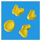 Horneado de Bricolaje 4 unids Pascua Cutter Cutter Conejito Huevo Decoraciones para el hogar 3D Die Fondant Pastelería Herramientas Biscuit Molde Feliz para niños y Adultos (Color : As Show)