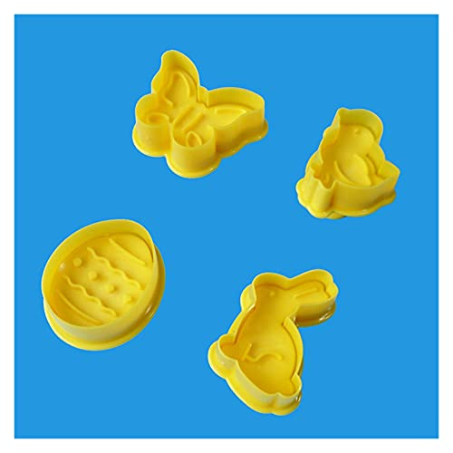 DIY baking 4Pcs Easter Cookie Cutter Bunny Egg Pattern Decorations For Home 3D Die Fondant Pastry Tools Biscuit Mould Happy for Kids & Adults (Color : As show)