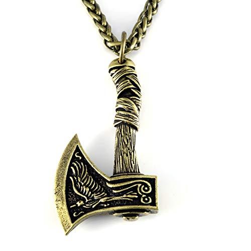 URBANTIMBER Wikinger Halskette Odin's Axt mit Fenris Wolf, Hugin & Munin und keltischen Knoten - Silber oder Bronze/Gold