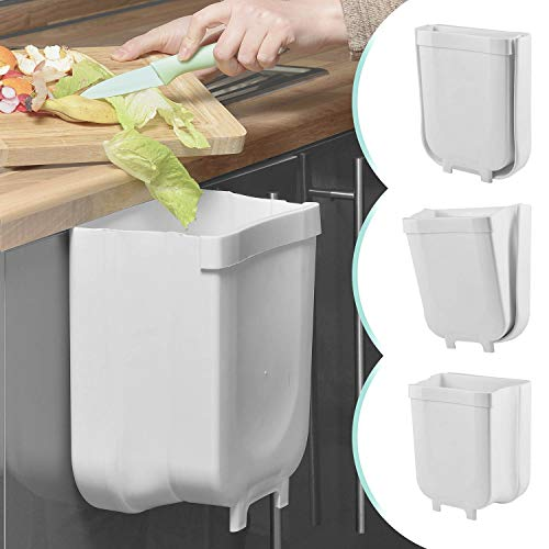 Cubo de basura plegable 9L Cubo de basura colgante Soporte de bolsa de basura plegable para la cocina y el baño; cubo para el camping y el coche