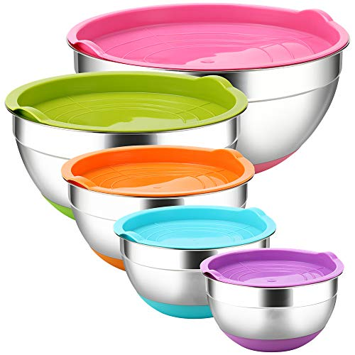 Stainless Steel Mixing Bowls with Airtight Lids by REGILLER, 5 Piece Colorful Silicone Flat Base Nesting Metal Bowls, Measurement Lines for Cooking Supplies (Colorful)
