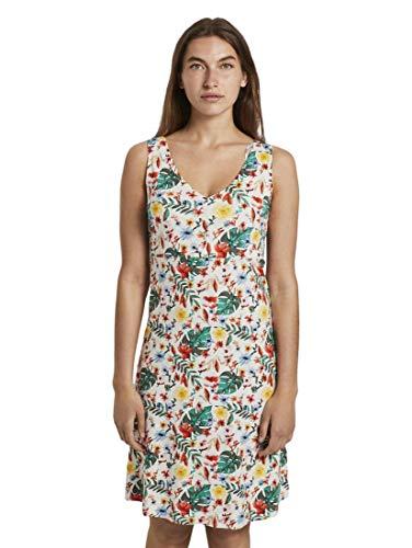 TOM TAILOR Damen Kleider & Jumpsuits Gemustertes Kleid mit V-Ausschnitt White Watercolor Flower Design,44