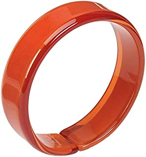 Retro Coral Red Resin Bangle with Expandable Opening