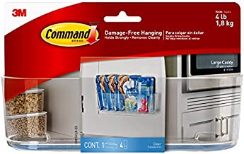 Command Large Caddy, Clear, with 4 Clear Indoor Strips, Organize Damage-Free