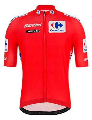 Santini La Vuelta 2019-Maglia Leader, Maglia Manica Corta Uomo, Rosso, S
