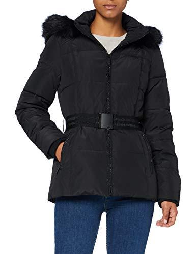 Morgan Doudoune Mi-Longue Piping Lurex Goral Abrigo, Negro, T42 para Mujer
