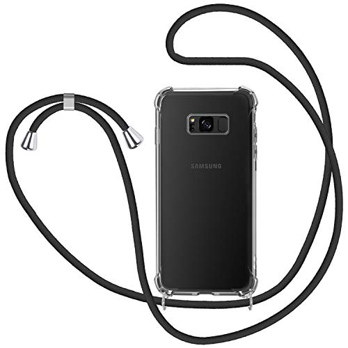Funda con Cuerda para Samsung Galaxy S8, Carcasa Transparente TPU Suave Silicona Case con Correa Colgante Ajustable Collar Correa de Cuello Cadena Cordón para Samsung Galaxy S8 - Negro