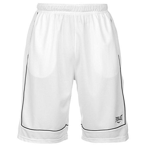 Everlast Short de basketball pour homme - Pantalon de sport décontracté - Blanc - Large