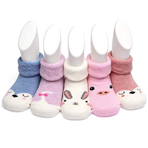 Adorel Baby Socken Baumwolle Frottee Gefüttert 5er-Pack Häschen & Fuchs & Schweinchen 20-21 (Herstellergr. S)