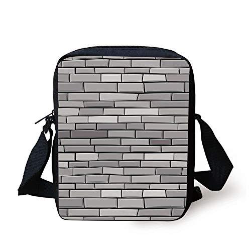 Grey,Illustration of Brick Wall Contemporary Artptrint 3d Vision Odd Modern Shabby Decorative Home,Gray Print Kids Crossbody Messenger Bag Purse
