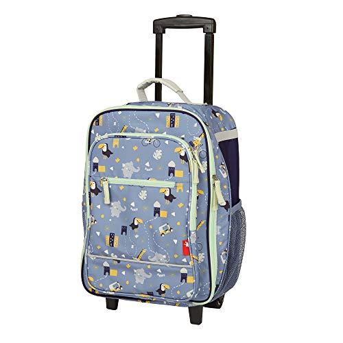 Sigikid Mädchen und Jungen Kinder-Trolley, Elefant KiGaCOLORI, Reisekoffer mit Rollen, Gepäck für Urlaub und Ausflüge, 52x32x22 cm, Alter 3 - 8 Jahre, Blau, 25155