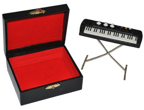 alles-meine.de GmbH Miniatur Keyboard / E-Piano mit Kasten - Holz Maßstab 1:12 - Puppenhaus Piano Klavier - Musikinstrument Musik Instrument Tasteninstrument