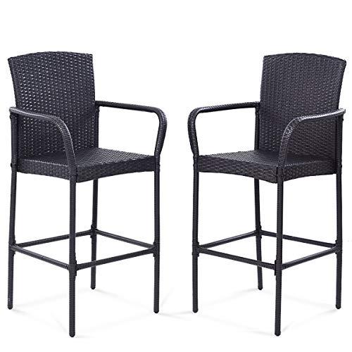 "TANGKULA Set of 2 Patio Bar Stools Indoor Outdoor Use Wicker Rattan Barstool Footrest Garden Pool Lawn Backyard Study Steel Frame Bar ChairsFurniture (Dark Brown 47"" H)"