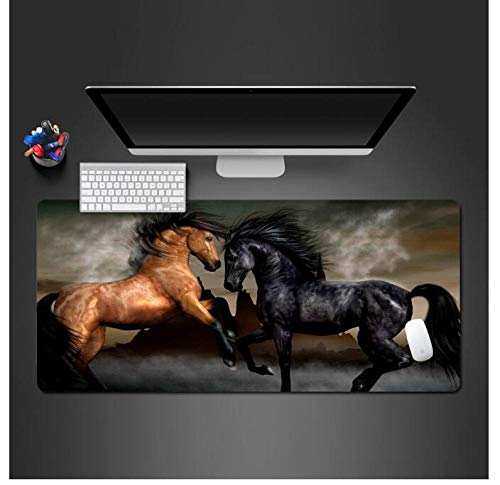 Mouse Pads Black Brown Horse Mouse Pad Game Player'S Computer Office Keyboard Ultra Thin Table Mats 800X400Mm