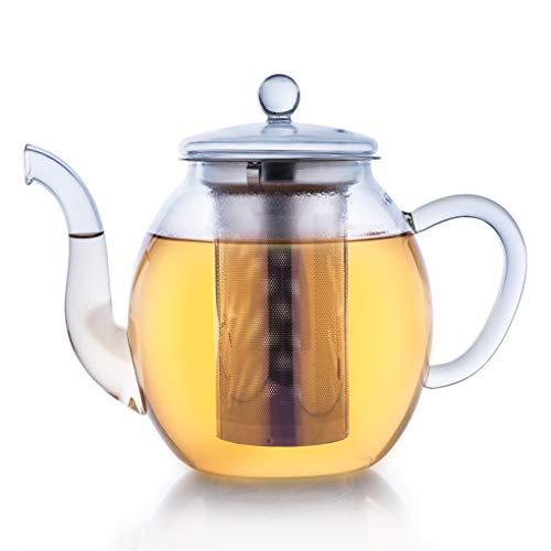 Creano Teekanne aus Glas 1,0l, 3-Teilige Glasteekanne mit Integriertem Edelstahl-Sieb und Glas-Deckel, Ideal zur Zubereitung von Losen Tees, tropffrei, All-in-One