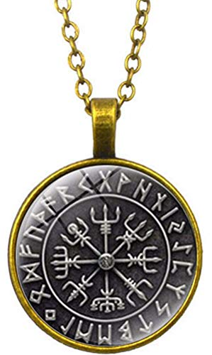 FLDC Viking Runic Compass Norse Vegvisir Nordic Protection Amulet Round Charm Pendant Necklace Sterling Silver Chain Jewelry Celtic Gifts Bronze