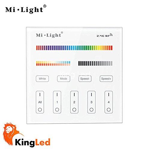 Mi-Light® Controlador de pared táctil multizona, serie Milight, modelo B4, regulador para tiras y focos multicolor RGBW y con coloración de temperatura regulable CCT, 4 zonas de control