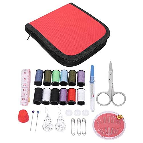 Kit de costura, pequeño conjunto de costura Bolsa 27 piezas Cremallera conveniente portátil para viajar a casa(red)