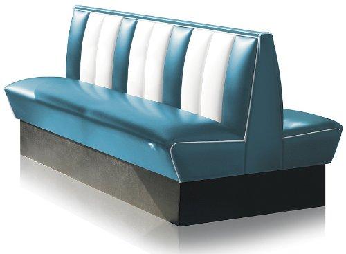 Dinerbank Eckbank Sitzbank Bank Einrichtung Gastronomie Dinermöbel Lounge (Blue/White)