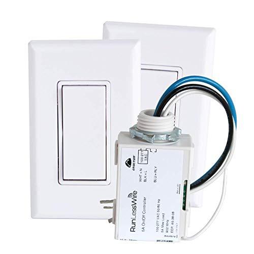 RunLessWire 3-Way Wireless Switch Kit, Self-Powered Rocker Switch, No Wire Light Control Kit