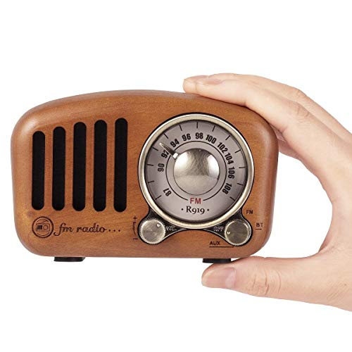 PRUNUS J-919 Klassisches Design Retro-Holz UKW FM SD MP3 Bluetooth Transistor Laderadio mit Lautsprecher, Unterstützt AUX-Funktion, 270° Großes Kompass Tuning Fenster. (Kirschholz)
