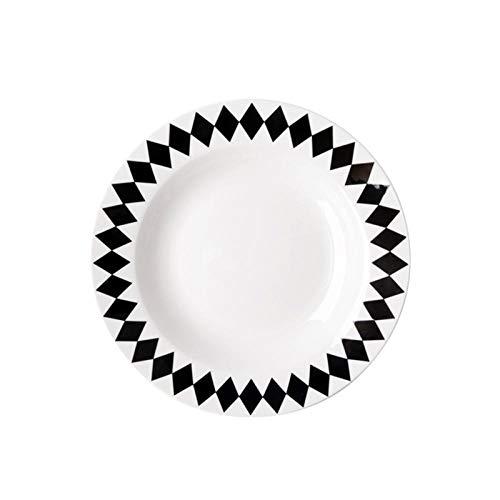 Teller 8-Zoll-Tiefe Platte Nordischen Stil Geschirr Schwarz Geometrisches Muster Bone China Pasta Teller Suppenteller Westlichen Essen Teller Einfach