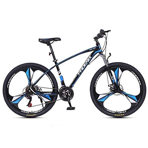JLQWE Vélo VTT Mountain Bike, Cadre en Acier Au Carbone Hommes/Femmes Vélos Semi-Rigide, Suspension Double Disque De Frein Avant, 26/27,5 Pouces Roue (Color : Blue, Size : 27.5inch)