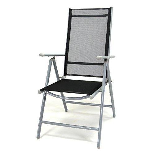 Nexos Klappstuhl Komfortbreite Hochlehner Gartenstuhl Campingstuhl Liegestuhl – Sitzmöbel Garten Terrasse Balkon – Stuhl aus Alu & Kunststoff - schwarz