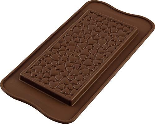 silikomart Love Choco Bar Schokoladenform, Silikon, braun, 11,7 x 7,9 x 11 cm