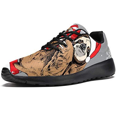 TIZORAX Zapatillas de correr para hombre, lindas perezosas en rojo gorro de...