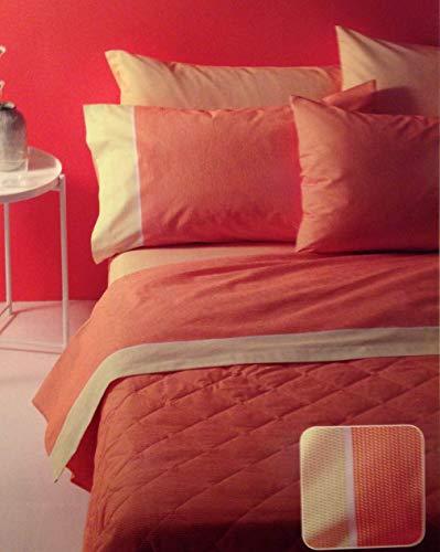Bassetti Spannbetttuch Minimal Orange Doppelbett (Bettlaken 240x 280+ Bettlaken 175x 200+ 4Kissenbezüge 50* 80)