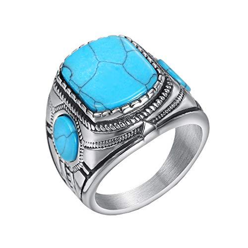 HIJONES Clásico Azul Turquesa Ónix Diamante Anillo para Hombres Acero Inoxidable Plata Talla 26