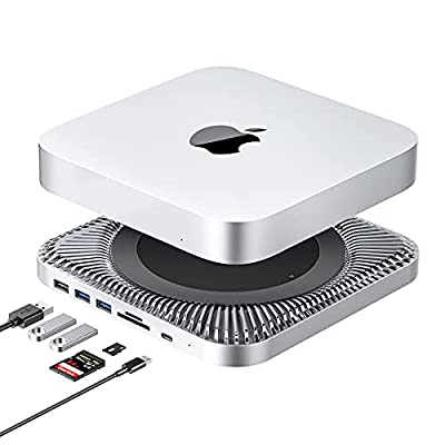 USB C Hub with Hard Drive Enclosure for Mac Mini M1, Tool-Free 7 in 1 Docking Station with SATA SSD/HDD Slot, Support USB 3.0 / 2.0, Type C Port, TF / SD Card Readers