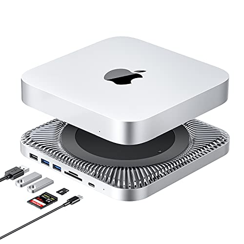 USB-C Hub with Hard Drive Enclosure for Mac Mini M1, Type C Docking Station with SATA SSD/HDD Slot, Dual USB 3.0/2.0 Port, TF/SD Card Readers, Compatible with Mac Mini 2018/2020