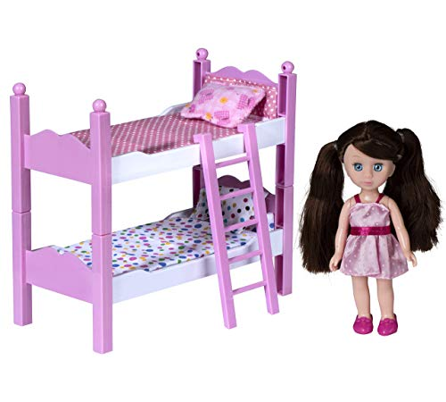 playkidiz Mini Doll Double Bed Playset: Pretend Play Mini Doll with Super Durable Double Bed for Children's Doll House or just Fun Play. (Brown)