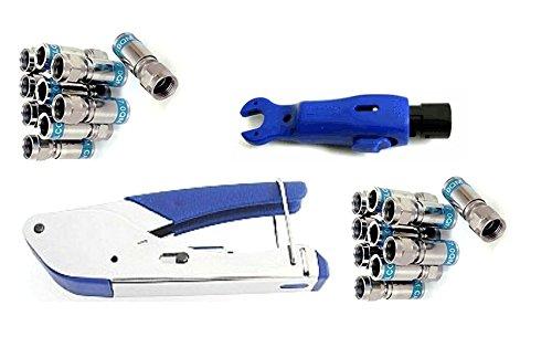 Cabelcon SET bestehend aus Kompressionszange Pocket Tool + Cable Stripper + 20 Stück Kompressions-F-Stecker (20 Stk CX3 7.0 QM + Stripper blau)