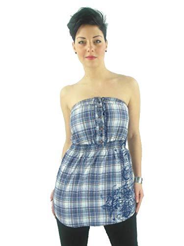 DEPT jurk bovenstuk W. CRABRO BLAUW wit gekaraktereerd strapless knopen 59.099.464.997
