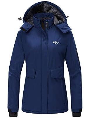 Wantdo Women's Warm Rain Jacket Waterproof Snowboarding Winter Coat Navy Blue M